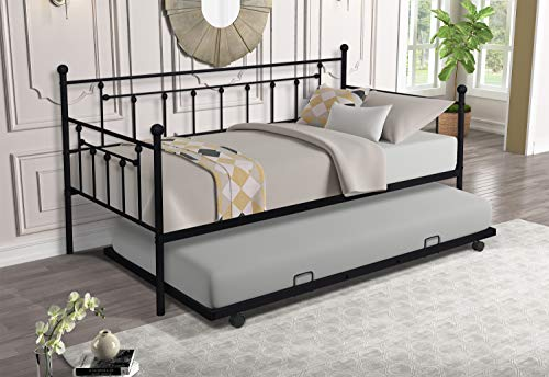 Twin Size Daybed with Trundle,Daybed Metal Frame with Pullout Trundle for Kids Teens and Adults, No Box Spring Needed (Black)