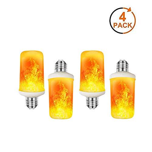 DJDL Bombilla de Llama, E27, 3W Luz de Llama LED, con 4 Modos de iluminación, Bombillas de Decoraciones navideñas Llama para Interior, Exterior, Hotel, Bar, Fiesta navideña (4 Paquetes)