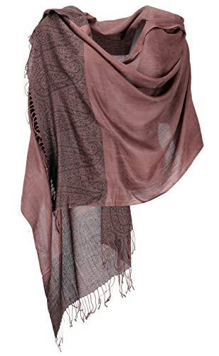 Guru-Shop, Pashmina Viscose Sjaal, Indiase Boho Gestolen met Paisley Patroon, Bruin, Synthetisch, Size:One Size, 200x70 cm, Sjaals