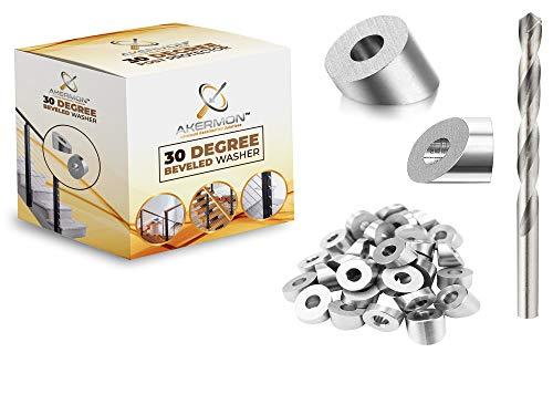 Stainless Steel 1/4' 30 Degree Angle Beveled Washer for 1/8' to 3/16' Deck Cable Railing Kit/Hardware, Marine Grade Wood/Metal/Aluminum Posts, DIY Balustrade Railing kits (50 Pcs)+Drill Bit. | AKERMON