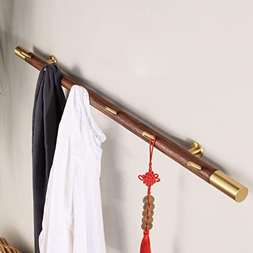 BAIHAO Gancho de Fila de Madera de Cobre montado en la Pared Perchero de Creatividad Retro con 6 Ganchos Llaves de decoración de Pared Ganchos para Colgar