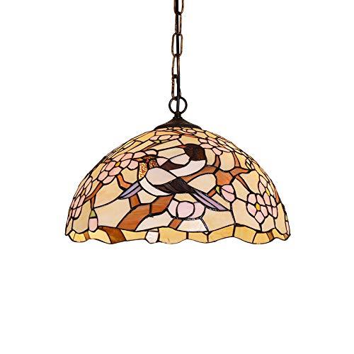 QB Uccelli Dipinti Lampadario in Vetro Tiffany Europeo retrò Plafoniere Stile bohème in Stile mediterraneo Caldo Romantico Paralume Studio Illuminazione da Camera da Letto