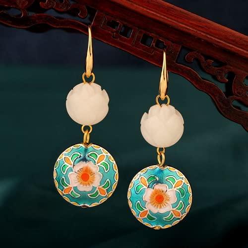JONJUMP Cloisonne Lotus Pendientes bohemios Bodhi flor colgante pendiente gota para mujer