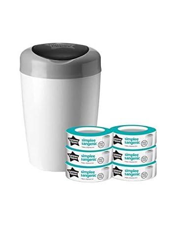 Tommee Tippee - Papelera de pañales Sangenic, incluye 6 casetes de repuesto, color blanco y gris: Amazon.es: Bebé
