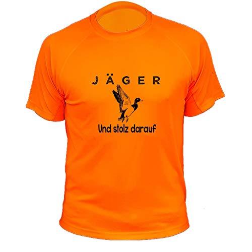Jagd T Shirt, Jäger und stolz darauf, Ente, Lustiges Geschenk für Jäger (20222, orange, 5a)