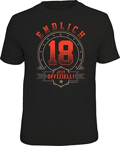 Das Geschenk T-Shirt zum 18. Geburtstag - Endlich volljährig, Offiziell 18, M