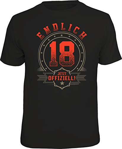 Das Geschenk T-Shirt zum 18. Geburtstag - Endlich volljährig, Offiziell 18, L