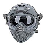 Casco PJ Tactical Fast Airsoft F22, Casco Protector de Cara Completa con máscara de Malla de Acero extraíble y Gafas.