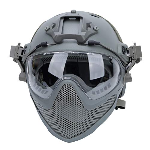 Tactical Airsoft PJ Helmet F22, a Full Face Protective Helmet with Detachable Mask and Goggles.