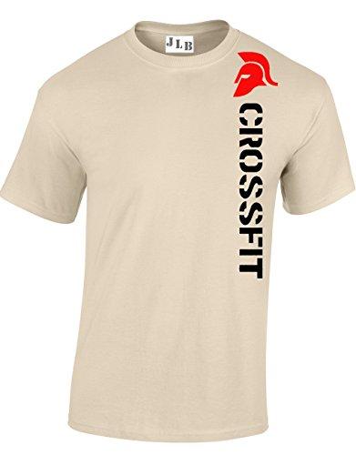 JLB Print Crossfit Spartan Helmet Aficionado Los Deportes Gimnasio Camiseta Ajuste Regular Primera Calidad para Hombres Adolescentes - Natural/X Grande