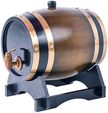 Amazon Com 1 5l Whiskey Barrel Dispenser Oak Aging Barrels Home Whiskey Barrel Decanter For Wine Spirits Beer And Liquor Brown Kitchen Dining
