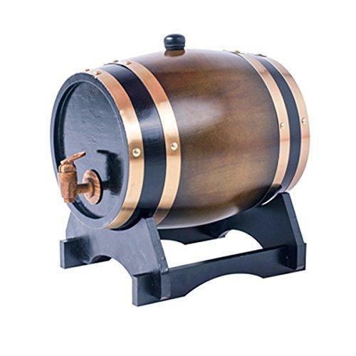 Whiskyfass aus Eichenholz, 1,5 l, für Wein, Spirituosen, Bier und Likör, Braun (mit gebrannten Eichenchips)