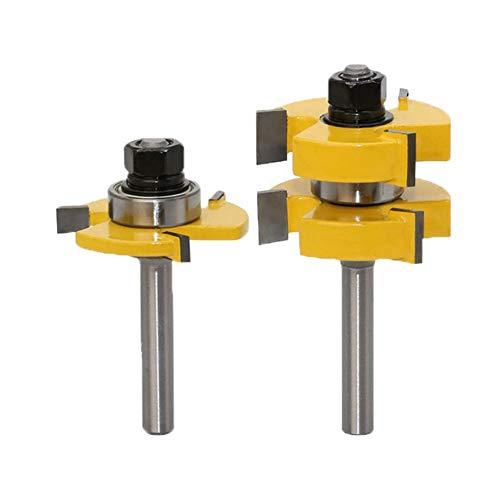 Meccion Nut- und Federfräser Set 8mm Schaft, 1-1/4 Zoll (38mm) Klinge T-Form Holz Fräsfräser Bit Professionelle Holzbearbeitung Cutter Werkzeuge