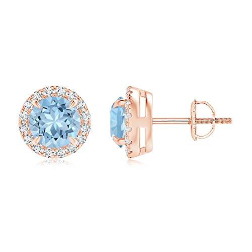 Claw-Set - Pendientes para mujer de aguamarina y diamante de oro rosa de 14 quilates (5 mm, aguamarina)