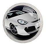 Perillas de coche blancas para cajones de aparador de 30 mm, tiradores de cristal, para el hogar, oficina, dormitorio, sala de estar y baño