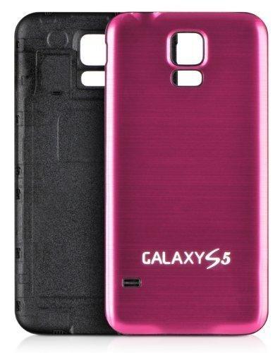 DONZO PLATIC Backcover Akkudeckel / Akkufachdeckel mit gebürstetem Aluminium für Samsung Galaxy S5 I9600 und I9605 und SM G900 - Schwarz / Pink