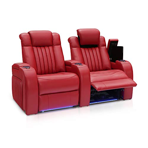 Seatcraft Mantra Home Theater Seating - Top Grain Leather - Power Recline - Power Headrest - Power Lumbar - USB Charging - Storage - SoundShaker - Cup Holders (Row of 2, Red)