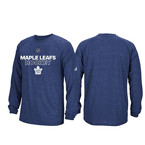 adidas Toronto Maple Leafs NHL Mens Navy Blue Climalite Long Sleeve Authentic Ice T-Shirt (M)