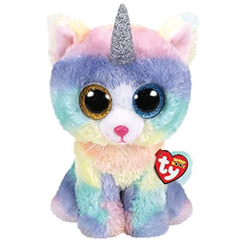 Ty – Beanie Boo's – Peluche Heather el Gato Unicornio TY36753, Multicolor, 40 cm