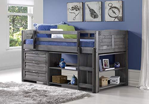 DONCO KIDS Louver Modular Low Loft Bed Combo A A, Twin, Antique Grey