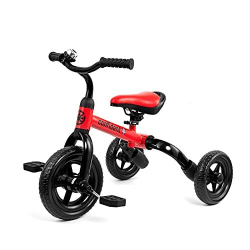 XIAPIA 3 en 1 Triciclo Bebé para Niños de 2-4 Años hasta 25KG, Correpasillos de Equilibrio Infántil Plegable, Juguete Niños y Regalos Originales Bebes de 18-48 Meses para Cumpleaños Navidad (Rojo)