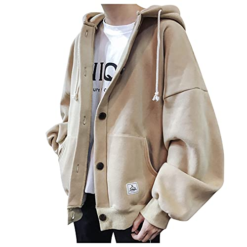 MTENG Men's Fashion Hoodies & Sweatshirts ButtonThicken Solid Color Hooded Coat Loose Casual Baseball Pullover