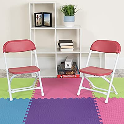 Flash Furniture Kids Burgundy Plastic Folding Chair from Flash Furniture