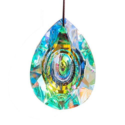 HampD 89mm/35in Hanging Chandelier Crystals Prisms for Window Suncatchers Chandelier Parts Rainbow Maker Pendants
