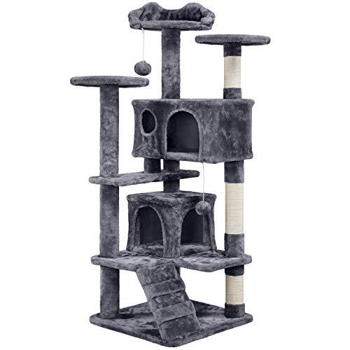 Yaheetech Katzenbaum mit Kratzbaum Kletterbaum mit Sisalstämmen Katzenkratzbaum Spielbaum mit 2 Höhle und 3 Plattformen Spielmöglichkeiten stabil