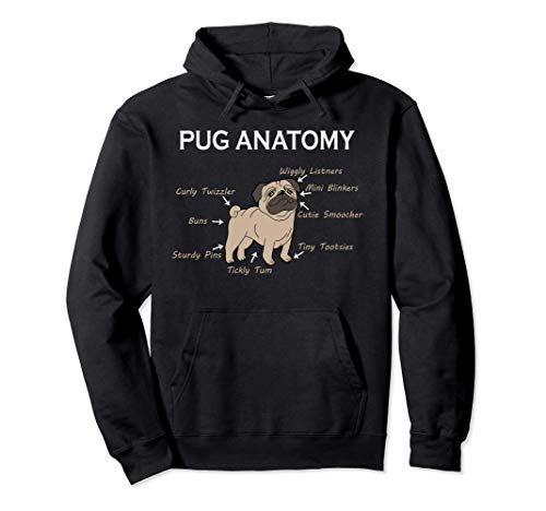 Pug Hoodie - Pug Anatomy Hoodie - Pug Gifts Pullover Hoodie