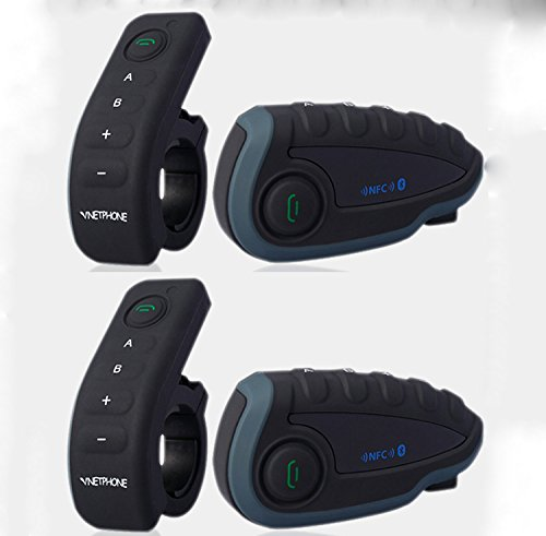 BT Intercom 2 x Vnetphone 2 pcs V8 1200m Waterroof Casco de Moto Casco de Moto Intercomunicador Bluetooth con Mando a Distancia NFC FM High Tech.