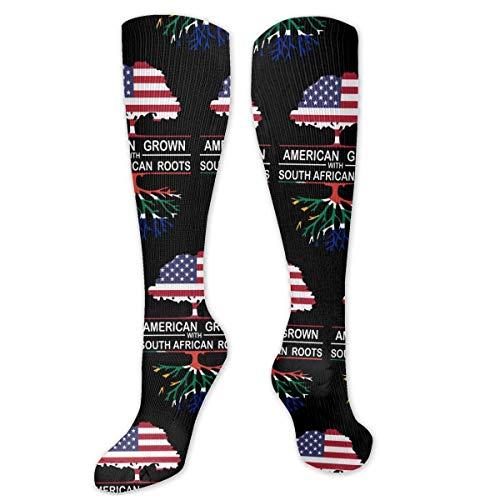 Americano crecido con races sudafricanas-1 hombres y mujeres calcetines largos de compresin hasta la rodilla calcetines de ftbol para el ftbol Tra
