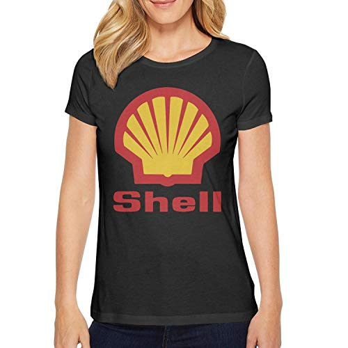 Young Women Short Sleeve T-Shirt Graphics Shell-Gasoline-Gas-Station-Logo- Gym Casual T-Shirt