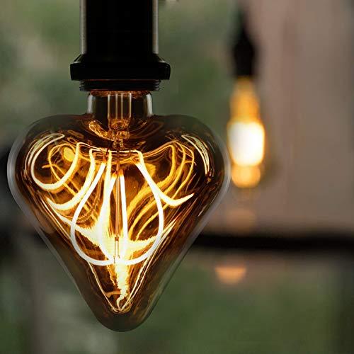 LED Vintage Edison Glühbirne GBLY 3W Retro Glühlampe E27 Dekorative Herzform Lampe Warmweiß Golden Antike Lampen für Nostalgie und Retro Beleuchtung im Haus Café Bar Party Weihnachten, nicht dimmbar