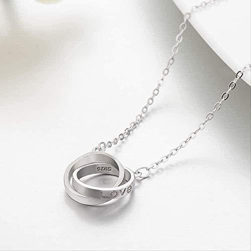 FACAIBA Collar Configuración de Personalidad Forma de Letra Se atreve Collar Anillo Doble Collar de Modelado Regalo