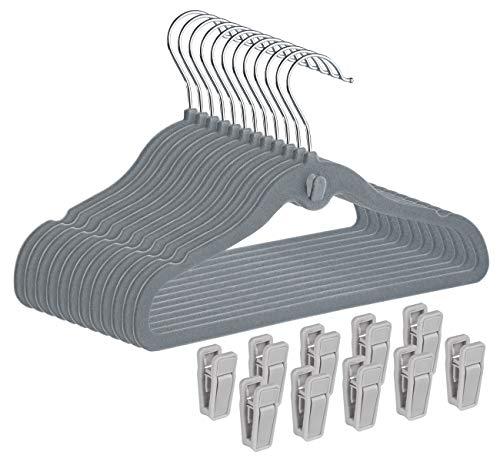 ABSOFINE Baby Velvet Coat Hangers 30Pcs- Clothes Hanger Non Slip 360°Rotatable Hook with 10 Finger Clips, Grey