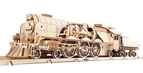 UGEARS 3D Puzzle Express Dampflokomotive Holzpuzzle Modellbau Set Denkspiel - DIY Puzzle Lernspielzeug - Umweltfreundlicher Holz Modellbausatz - Für Erwachsene & Kinder