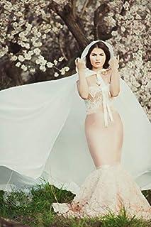 Capa larga de novia en gasa con cola y capucha, mujer boda