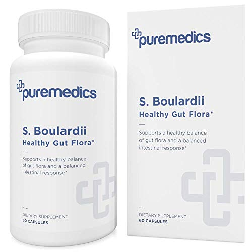 PUREMEDICS Saccharomyces Boulardii Probiotic - S Boulardii Probiotic 5 Billion CFU to Support Healthy Intestinal Flora - Recommended by Doctors - 3rd Party Lab Certified - Hypoallergenic - 60 Capsules