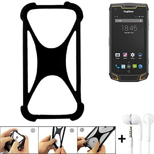K-S-Trade Handyhülle für Ruggear RG740 Schutzhülle Bumper Silikon Schutz Hülle Cover Case Silikoncase Silikonbumper TPU Softcase Smartphone, schwarz (1x), Headphones