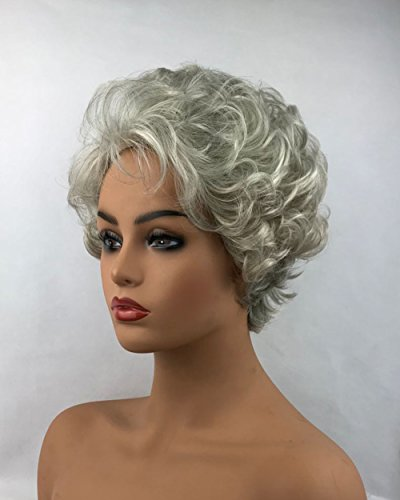 Best Short Natural Gray Curly Synthetic Hair Full Ladies Wigs for Women