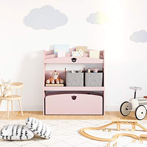 DOMYHOME子供用シェルフおもちゃ箱子供用本棚絵本棚おもちゃ収納木製かわいいキッズおしゃれ子ども家具絵本ラック(ピンク)