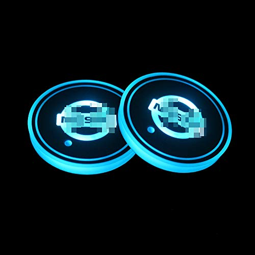 2 Pcs Led Car Cup Holder Lights Coaster,USB Charging,Car Cup Holder Lights Pads,Universal Water Cup Mat for Nissan Murano/X-Trail/Qashqai/Leaf/Ariya/Patrol/370z/Gt-R,Etc