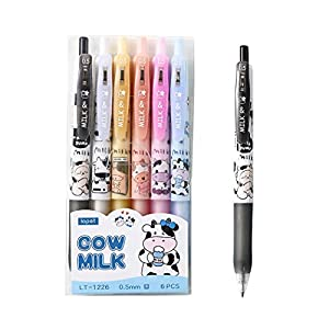 Giant star Cute Milky Cow Pens, Retractable Gel Pens, Black Gel Ink Pens, 0.5mm, Bullet Point, Perfect for Office School Supplies Gifts for Boys Girls,Pack of 6pcs (Milky Cow)