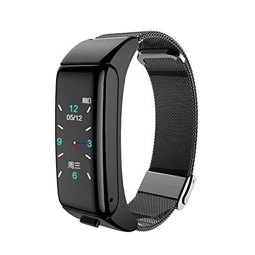 XUEXIU Smart Sports Pulsera Llamada Música Monitoreo Corazón Monitoreo Paso Contando Fitness Multifuncional Smart Watch (Color : Black)