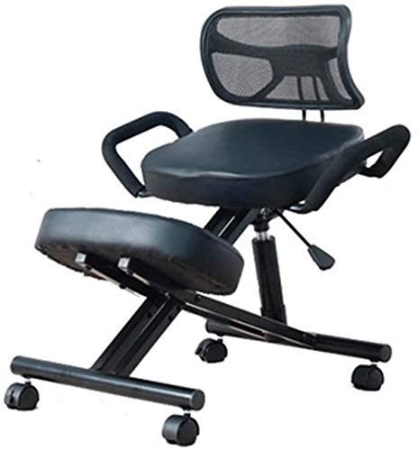 XHCP Ergonomic Kneeling Chair, Thick Cushion Pad Flexible Seating Adjustable Stool Improve Posture Now & Neck Pain Orthopedic Faux Leather Kneels Cushions for Home and Office