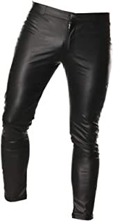 Milisten Pantaloni da Uomo in Pelle Pantaloni con Cerniera Lunga Sexy Pantaloni Night Club Pantaloni Attillati Slim Club C...