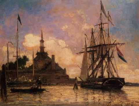 Jongkind Johan Berthold De haven van Rotterdam A3 Doos Canvas Print