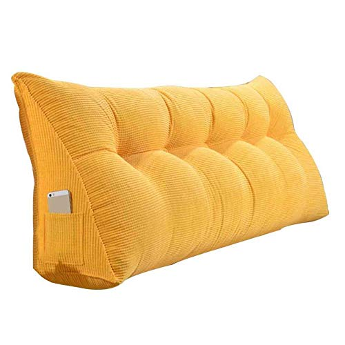 WEHKJIYT Bed backrest cushion Triangular Wedge Pillow Backrest Support Reading Pillow Positioning Support Upholstered Pad Removable Washable, 5 colour-200x20x50cm_Yellow