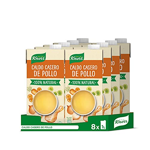 Knorr - Caldo Líquido Casero de Pollo 100% Natural sin Gluten ni Conservantes, 1L (8 unidades)